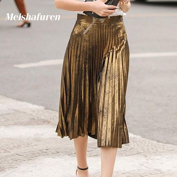 Donna Summer New Women Pleated Skirt Vintage High Waist A-Line Shiny Gold Silver Skirt Female Bling Bling Midi Skirts B606Z