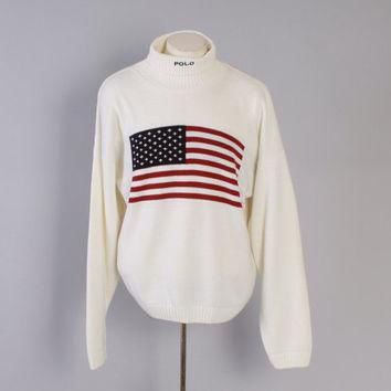 Vintage 90s POLO SWEATER / 1990s Men's Ralph Lauren American Flag Jumper XL