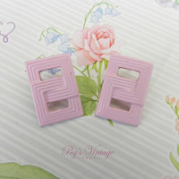 Vintage Pastel Pink Metal Earrings, Vintage Pierced Earrings