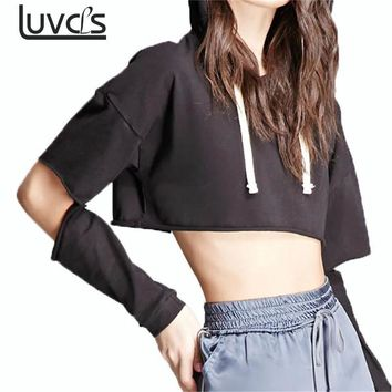 LUVCLS Punk Style Hooded Hoodies Pullover Hollow Out Long Sleeve Crop Top Hoodies Autumn Winter Kpop Sweatshirt Hoodies Women
