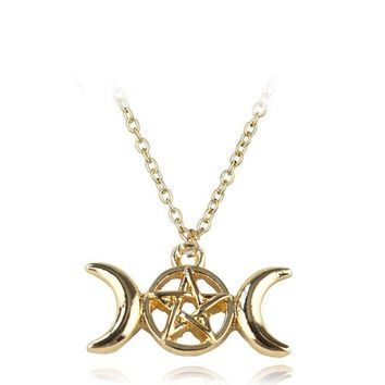 Fashion Vintage Triple Moon Goddess Tree Of Life Pendant Necklace Wiccan Pentagram Supernatural Amulet