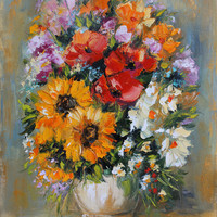 Bouquet of flowers, Giclee on canvas, Print of original oil impasto painting, Sunflowers, Palette Knife, Gift for her, Fine art giclee print