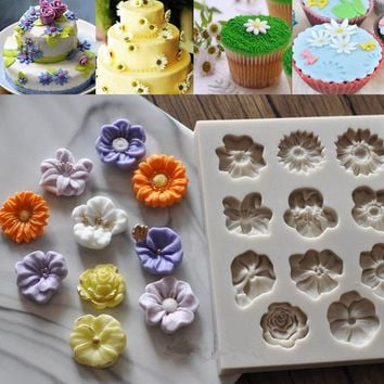 NEW DIY Daisy Rose Flowers Cake Chocolate Mold Silicone Candy Jely Pudding Mold Sugar Fondant Baking Decorating Tools Bakeware