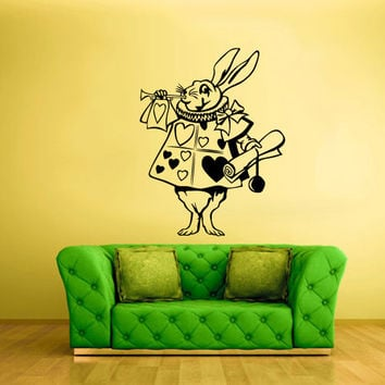 Wall Decal Vinyl Sticker Decor Art Bedroom Nursery Kids Baby Bunny Rabbit Tube Alice Wonderland (z2379)