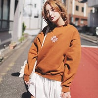 Autumn And Winter Girl's Fashion Solid Color Pullover Logo Print O-neck Sweatshirt Loose Fleeces