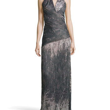 Halter Printed Voile Gown,