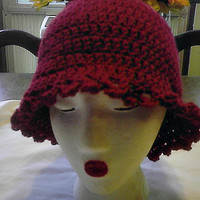 Dark Claret Crimson Red Bucket  Cloche Hat