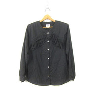 Black Western Fringe Shirt 1980s Cowgirl Southwestern Rockabilly Hipster Top Vintage Roper Shirt Women's Size medium