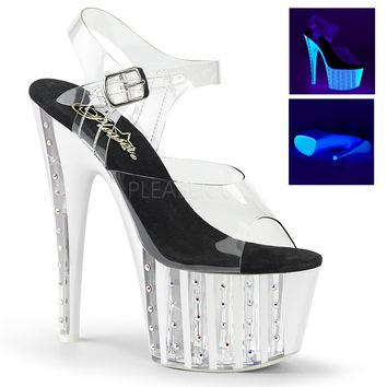 Clear Rhinestone Platform Ankle Strap Sandal-Stripper Shoes