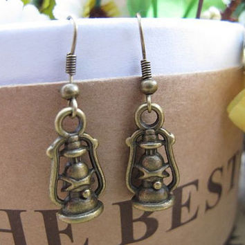 Antique Bronze Charm Earring ,Oil lamp Design Metalwork Dangle Earring , Vintage Style Earrings , Handmade Brass Earrings