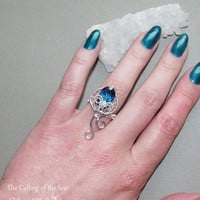 Calling of the Sea ring, LOTR rings, Elf jewelry, wire wrapped ring, swarovski ring, adjustable ring, Tolkien inspired