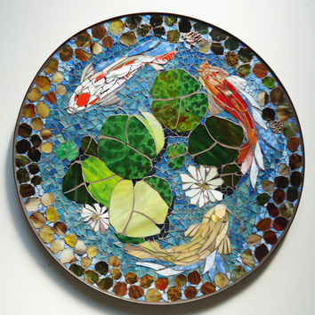 "MOSAIC TABLE - koi fish ART  - stained glass mosaic art - 30"" round indoor or outdoor end side table top or patio mural"