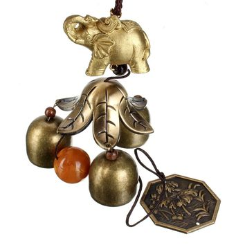 1pcs Chinese Oriental Lucky Metal Pagoda Hanging Wind Chime Bell Feng Shui Brass Buddha Elephant Spittor Fortune Lijiang Style