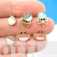 Small Crab Squid Sea Animal Stud Earring 6 Piece Set with Gemstones from Dotoly Love