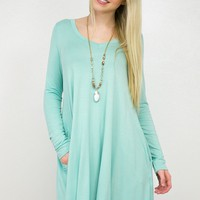 Simple Long Sleeve Dress | Aqua