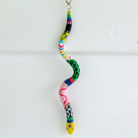 Snake of Many Colors Abstract Hand Painted Snake Necklace
