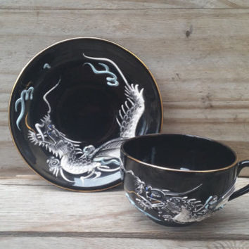 Black White and Blue Dragon Teacup and Saucer Japan
