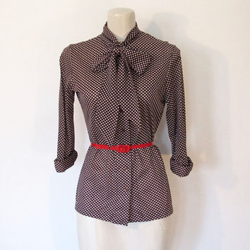 Vintage 1970s Russ / Brown & White Polka Dot Secretary Blouse / Tie Neck Button-down Shirt