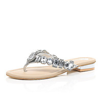 River Island Womens Silver gemstone embellished sandals