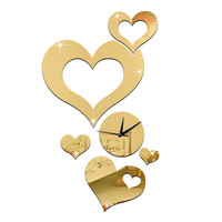 Wedding Room Decoration Quartz Mirror Cupid Wall Clock   C golden