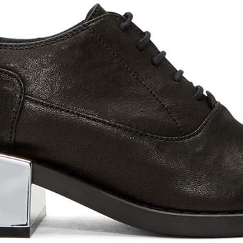 Black Metallic Heel Oxfords