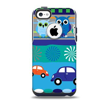 The Cartoon Colored Vector Owls with Cars Skin for the iPhone 5c OtterBox Commuter Case