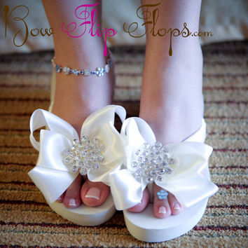 Ivory Wedge Bridal Flip Flops Jewel Rhinestone Satin Rhinestone Bow Wedding Bride platform heel Wedding Ribbon,  brides, bridesmaids