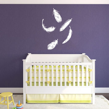 Feathers Fly Flying Housewares Wall Vinyl Decal Sticker Design Interior Decor Bedroom Children Kids Baby Room Nursery SV4507