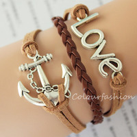 Graduation Gift, Fashion Charm Bracelet, Silver ''LOVE'' anchor Charm, Brown Cords, Braid Leather, Silver Jewelry, Personalized