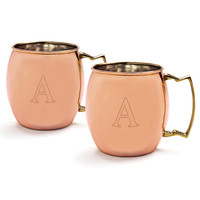 Personalized 20 oz. Moscow Mule Copper Mug w/ Unique Handle (Set of 2)