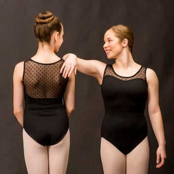 Tank Leotard with Dot Mesh Back