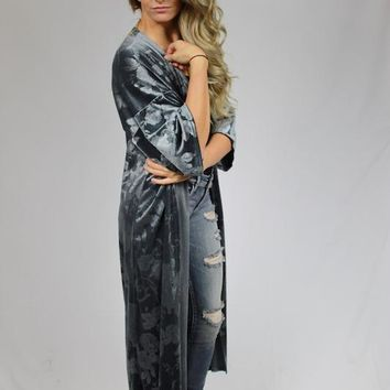 Velvet Tapestry Duster Cardigan - Gray