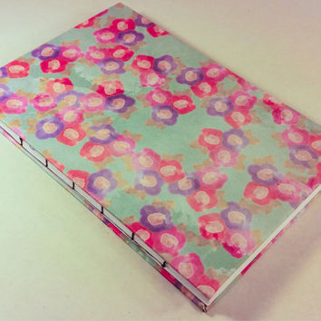 Pastel watercolor flower blue blank journal with 80 pages 5.5X8.5