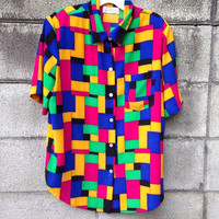 Multicolor Colorblock Shirt Women's Blouse Vintage size 12