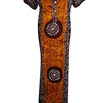 Mogul Interior Womens Caftan Nightgown Cotton Batik Print Button Front Casual Kaftan Maxi Dress L