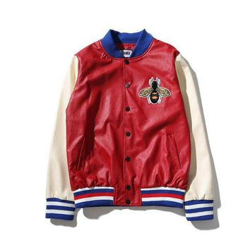 ONETOW Gucci Fashion Bee Embroider Button Cardigan Jacket Coat Day-First?