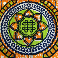 Julius Holland Dutch African Wax Print Fabric by the HALF YARD. Orange and Lime Green Hearts