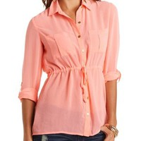 Chiffon Button-Up Tunic Top by Charlotte Russe