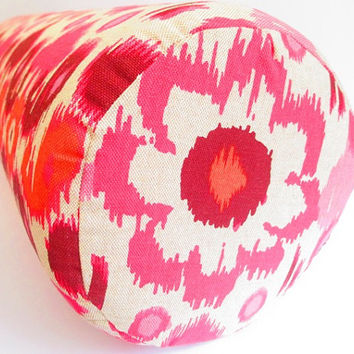 New - Pink Bolster Pillows, Ikat Bolster Pillow, Large Pillow Covers, Long Bed Pillows, Pink Ikat, Orange Ikat, cylinder pillows, round