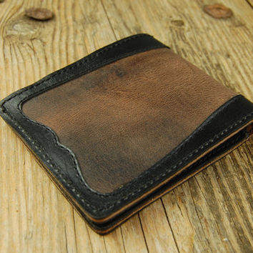 Mens Wallet/Personalized Leather Wallet/Groomsmen Gifts for men/Brown and Black Designer Wallet