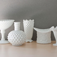 Instant Collection, Fenton and Westmoreland Mini Bud Vase Set, Hobnail, Daisy and Button, Diamond, Cottage Chic