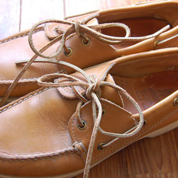 Vintage 80s 90s Genuine Leather Caramel/// Topsiders Deck Shoes Boat Shoes/// Womens Size 6 ///Made in Maine