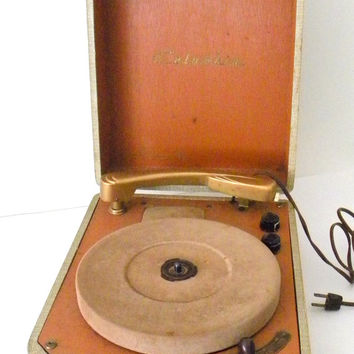 Vintage 1950s Columbia 312 Portable Record Player, 3 Speeds, All Original