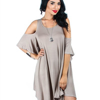 All About The Bass Open Shoulder Tunic Dress: Mocha