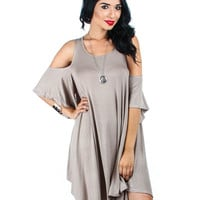 Mocha Lyss Loo Open Shoulder Over Sized Tunic Dress