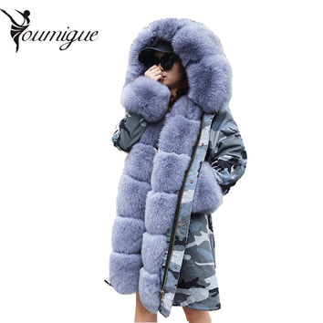 YOUMIGUE Women winter warm natural large fox fur collar real fur parka with luxury rex rabbit fur liner camouflage parka jacket