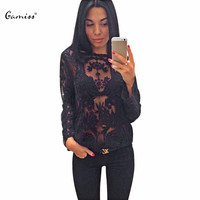2016 Autumn Women Blouse Stylish Scoop Collar Long Sleeve See-Through Solid Color Lace Blouse Long-sleeve Women Tops 1298573