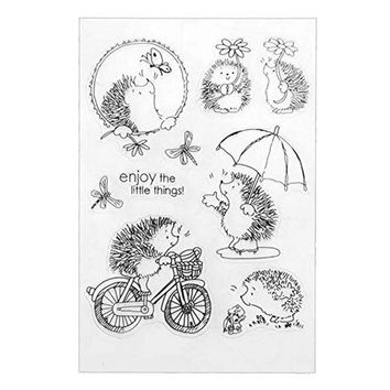 Bicycling Hedgehog Pattern Transparent Clear Stamp Silicone Seals Scrapbooking Card DIY Making Photo Album Decoration CHW0601