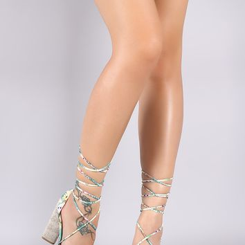 Qupid Hibiscus Pineapple Ankle Lace Up Chunky Heel
