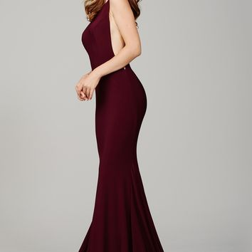 Burgundy Low Back Prom Dress 37592